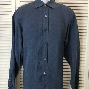 Mens blue linen long sleeve shirt Banana Republic